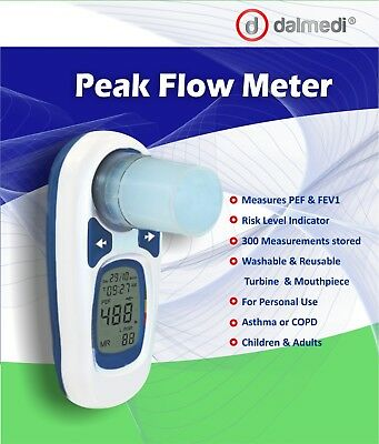 Digital Peak Flow Meter Spirometer, PEF & FEV1, reusable mouthpiece, Asthma,COPD