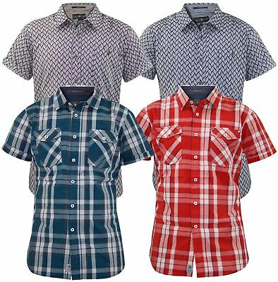 Economico Uomo Crosshatch Camicia Casual Manica Corta Colletto collo Cotone