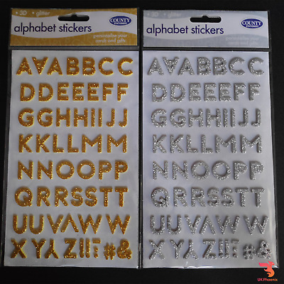 3D Glitter Alphabet Stickers Letters Sticky Scrapbooking Decoration Gold Silver