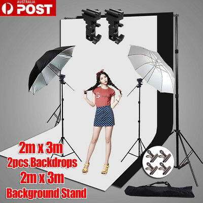 Photography Studio Umbrella Lighting Flash Light Bracket 2x3m Backdrop Stand Kit