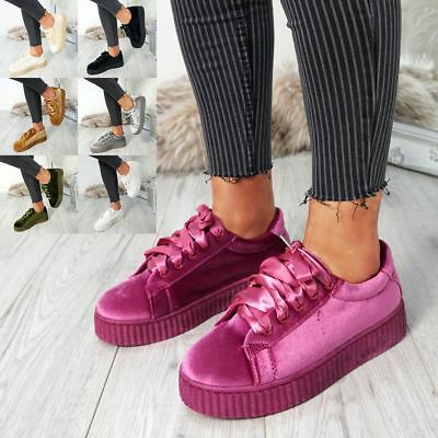 Womens Ladies Velvet Fashion Trainers Lace Up Sneakers Plimsolls Casual Shoes