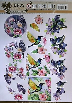 A4 DIE CUT 3D PAPER TOLE DECOUPAGE Push Out Sheet Birds & Flowers SB10318