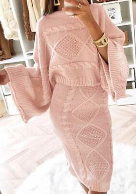 Womens Ladies Chunky Cable Knitted Flared Jumper Skirt Co-Ord Suit Two Piece Set