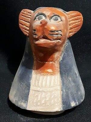 Ancient Egyptian god sekhmet limestone head canopic jar led bc