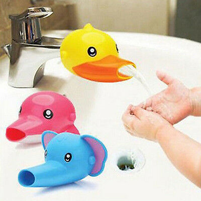 Happy Fun Animals Faucet Extender Baby Kids Hand Washing Bathroom Gift Wide