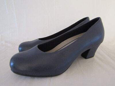 f96698856c0 BNWOB HOTTER OLWYN NAVY BLUE LEATHER COURT SHOES WIDE FIT HEELS UK 4.5 Rrp  £69