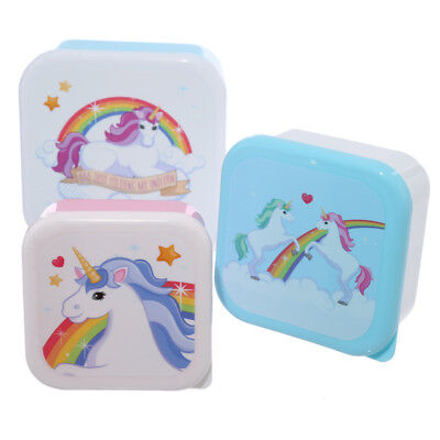 3 Toddler Snack Food Keepers Unicorn - Pod Container Lunch Baby Kids Boxes Tubs