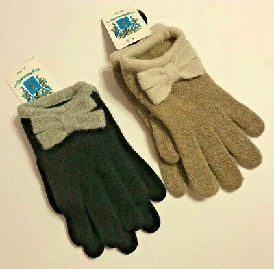 NWT PORTOLANO Women Bow Knit Cashmere Gloves One Size Black/Grey, Brown/Beige