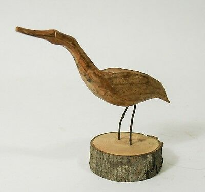 Primitive Folk Art Wood Hand Carved Shore Bird Vintage Treen Water Fowl