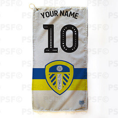 Leeds United FC Official Personalised Retro Shirt White Golf Towel LGT006