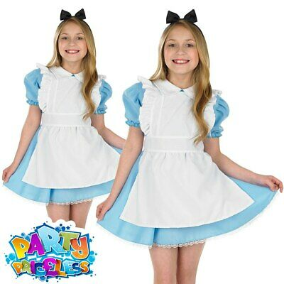 Girls Alice Costume Kids Wonderland Fancy Dress Book Day Week Childs Outfit
