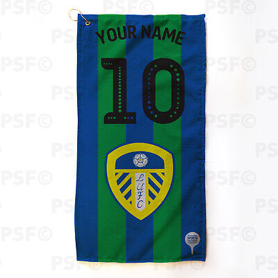 Leeds United FC Official Personalised Retro Shirt Blue Green Golf Towel LGT007