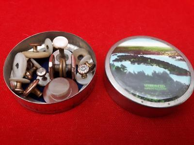 Vintage Antique Job lot Collar Studs MOP Mother Pearl Sparkly Lake District Tin