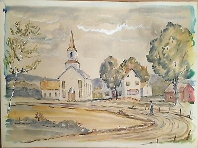 Antique/Vtg Folk Art Watercolor Painting 24x18. Summer Country Village Church