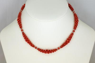 Antique Natural Coral Authentic Edwardian Necklace Woven Coral & Crystal ca 1910