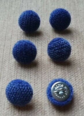 Blue//Cream Textured Chenille 30L//19mm Marine Upholstery Fabric Covered Buttons