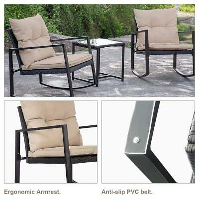 3-Piece Patio Bistro Dining Set 2 Chairs 1 Glass Table Outdoor Garden Furniture