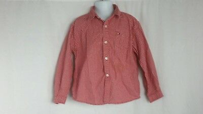 Tommy Hilfiger Long Sleeve Button Down Shirt Red White Boys Sz 4T