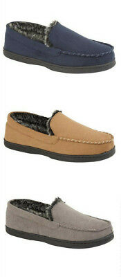 Mens Moccasins Slippers Loafers Faux Suede Warm Fur Lined Winter Shoes Sizes New