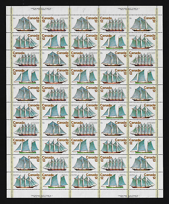 Canada Stamps — Full Pane of 50  — 1977, Voiliers / Sailing Vessels #744@47 MNH