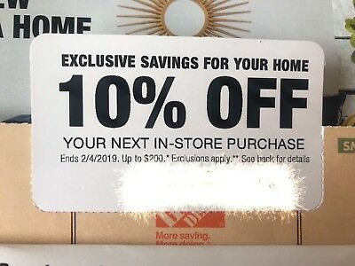 ONE  Home Depot 10% Off-1coupon- max saving 200$- In Store Only--exp 2/4/2019