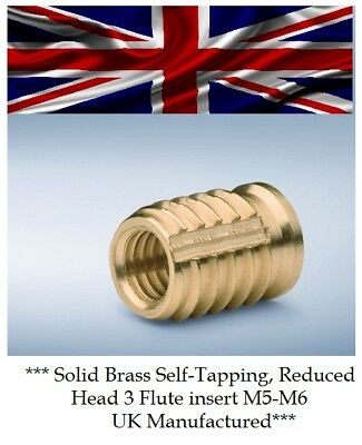 Threaded Solid Brass Self Tapping Insert For Plastic Screwfit Reducehead M5 & M6