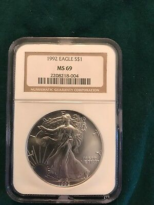 1992 American Silver Eagle Bullion Coin - NGC MS69 Brown Label - 1oz .999 Fine