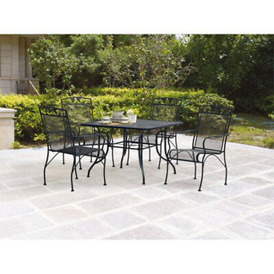5-Piece Patio Dining Set 4 Chairs 1 Table Outdoor Garden Wrought iron Furniture