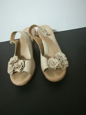 77a5ef106292 BOC Born Concept Women s Taupe Leather Flower Slingback Wedge Sandals Size  10M