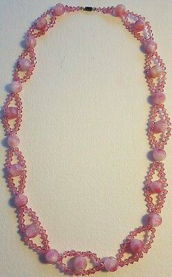 Vintage gorgeous pink crystal or glass necklace 1930s 1940s