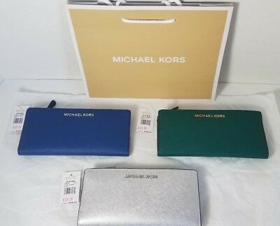 9e2463451be5 Nwt Michael Kors Jet Set Travel Large Card Case Carryall Wallet Leather $148