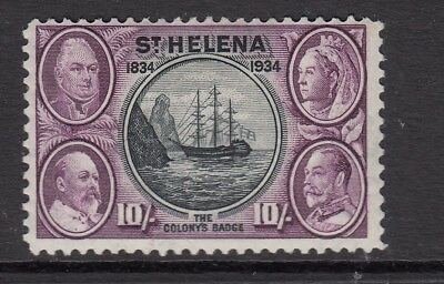 St Helena 1934 Centenary 10s black and purple SG123 mounted mint