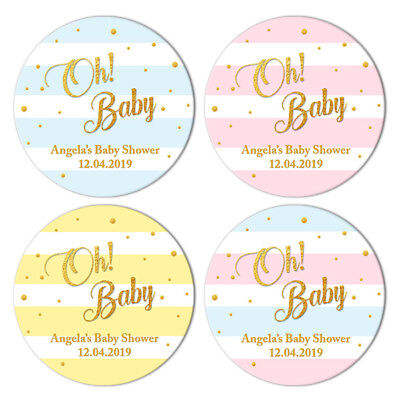48 x BABY SHOWER PERSONALISED ROUND STICKERS LABELS ABOUT TO POP PARTY FAVOURS
