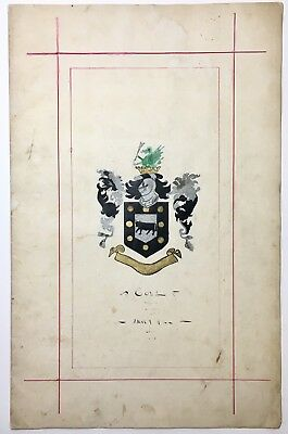 Old 19th Century Manuscript Baron William Cole Pedigree w/ Coat Of Arms Painting