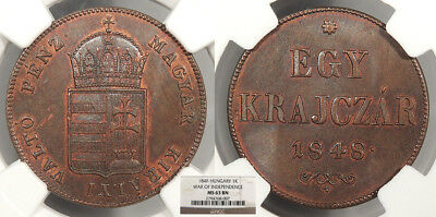 HUNGARY Ferdinand V, the Good 1848 Krajczar NGC MS-63 BN