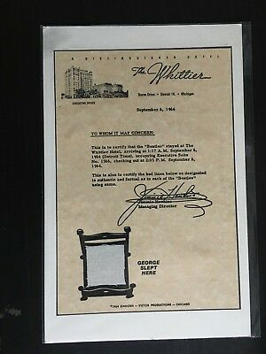 The Beatles - The Whittier Hotel Michigan - Set Of 4 Bed Sheet Swatches 1964