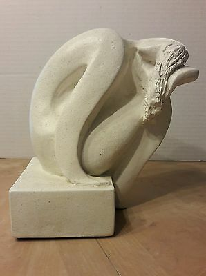 """Vintage Austin Prod Inc Nude Woman Sculpture Signed Fisher 1980 7.75"""" Tall"""