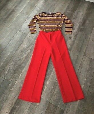 VTG 70s Bell Bottom Disco Hippie Pants & Rainbow Shirt Set Leisuresuit Jumpsuit