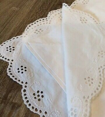2 Antique Hand Embroidered Ex Large Bed Pillow Cases / Shams Old Cotton - Button
