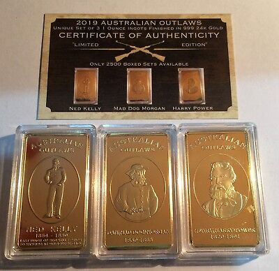 2019 Australian Outlaws 3 x 1 oz Ingots 999 24k Gold Plated, NED KELLY LTD 2500