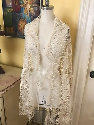 Early 1800's Antique Fine Tuscan Needle Lace Shawl~scarf Eru ~Cream Floral