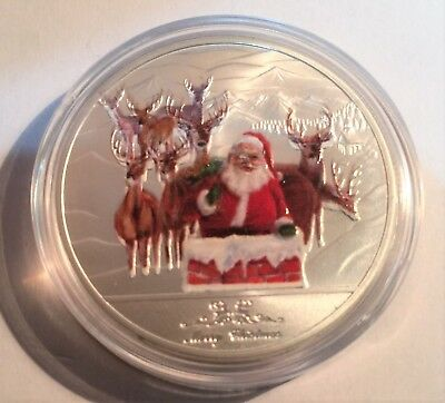 Merry Christmas and a Happy NY 1 oz coin colour Printed 999 Silver plated, gift