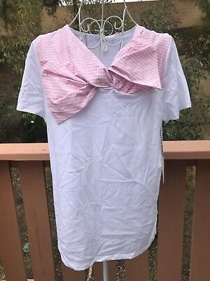 aed7952b72f WOMEN 1901 WHITE Pink Woven Bow Tee Blouse Size M NEW  49 -  11.99 ...