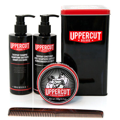 Uppercut Deluxe Combo Gift Set Mens Hair Pomade Shampoo Conditioner & Comb