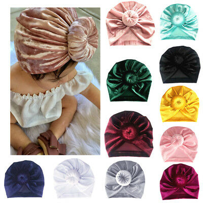 Newborn Toddler Kids Baby Boy Girl Turban Cotton Beanie Hat Winter Warm Cap AU
