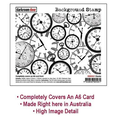 DARKROOM DOOR Background Stamp CLOCKS - Covers A6 Cards - Card Making Stamping