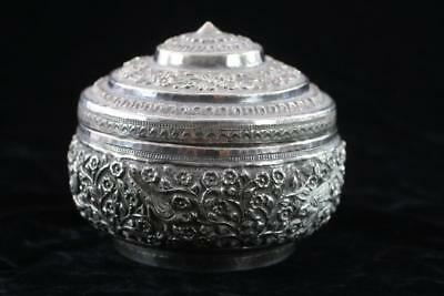 ANTIQUE BURMESE 19th Century STERLING SILVER REPOUSSE LIDDED BOWL 149.3g