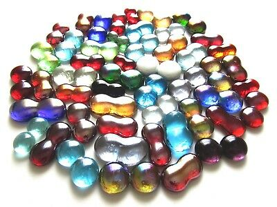 50 x Quirky Double Fused Multi Colored Art Glass Mosaic Feature Gem Stones