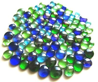 100 x Mixed Blue & Green Art Glass Mosaic Pebbles Gem Stones - Assorted Sizes