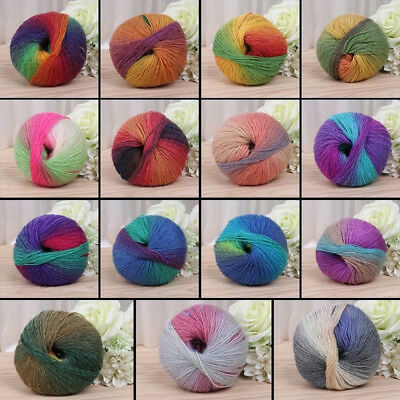 Multicolor 50g Hand-woven Rainbow Crochet Cashmere Wool Blend Yarn Knitting New